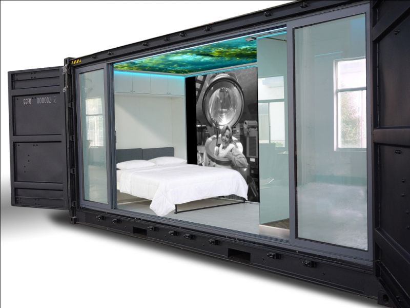Autonomous Eco Container Cabin bedroom window