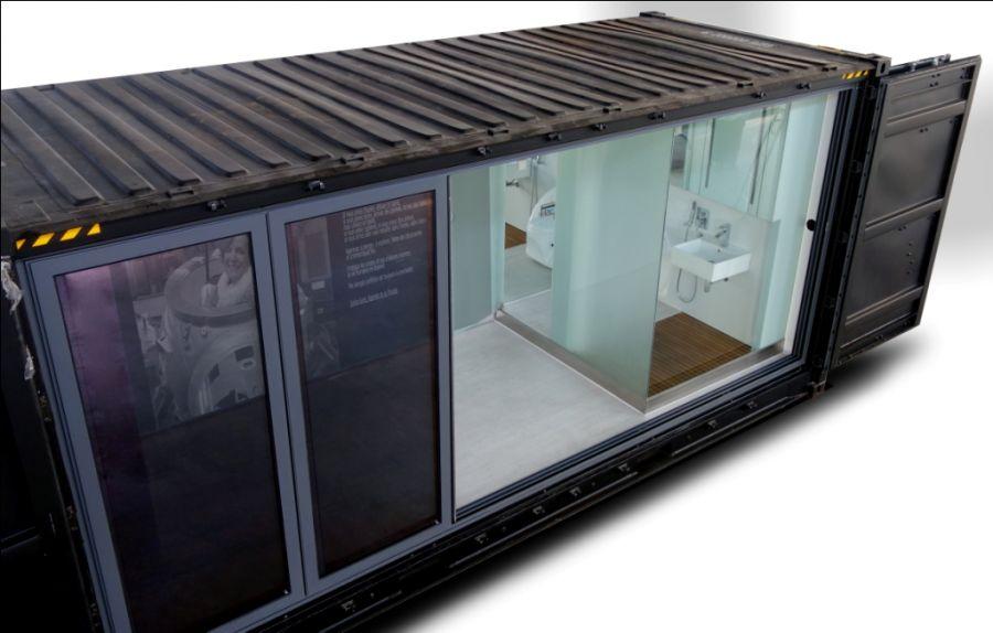 Autonomous Eco Container Cabin Bathroom window