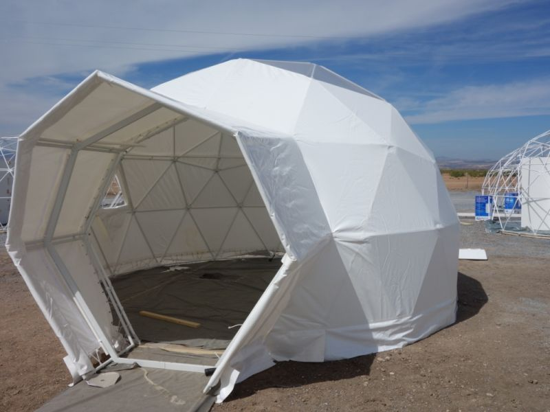 Geodesic dome structure finished entrance