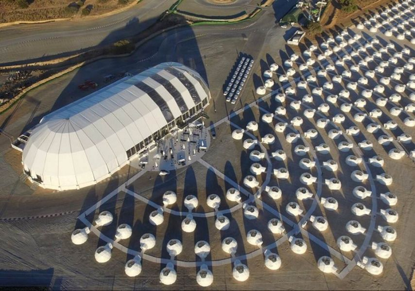 Glamping Dome Camp birds eye view