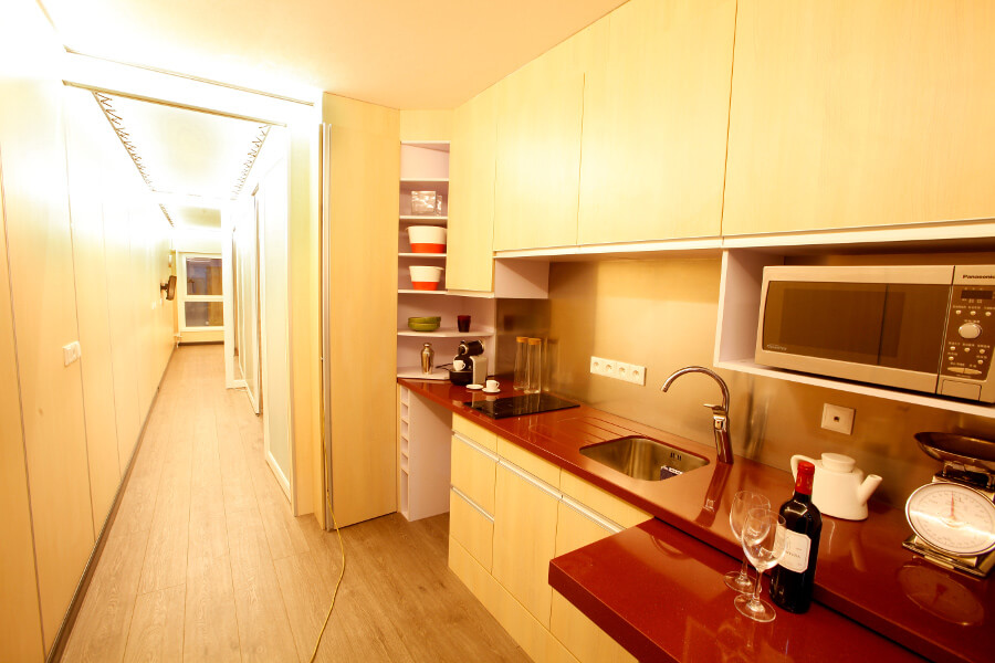Inside kitchen view of XCUBE container housing