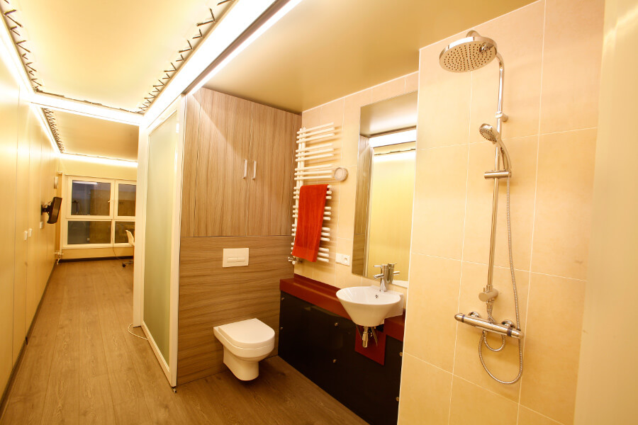 Interior XCUBE container modular student bathroom