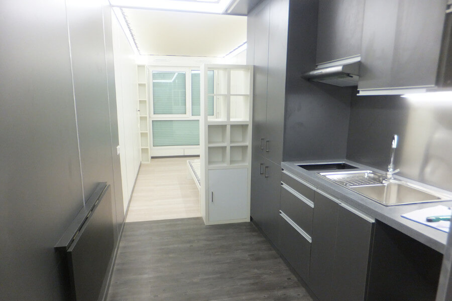Interior XCUBE modular container student kitchen
